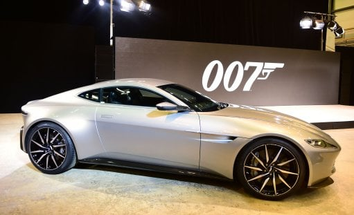 An Aston Martin DB10 at the revealing of the new James Bond film at pinewood Studio in Buckinghamshire.