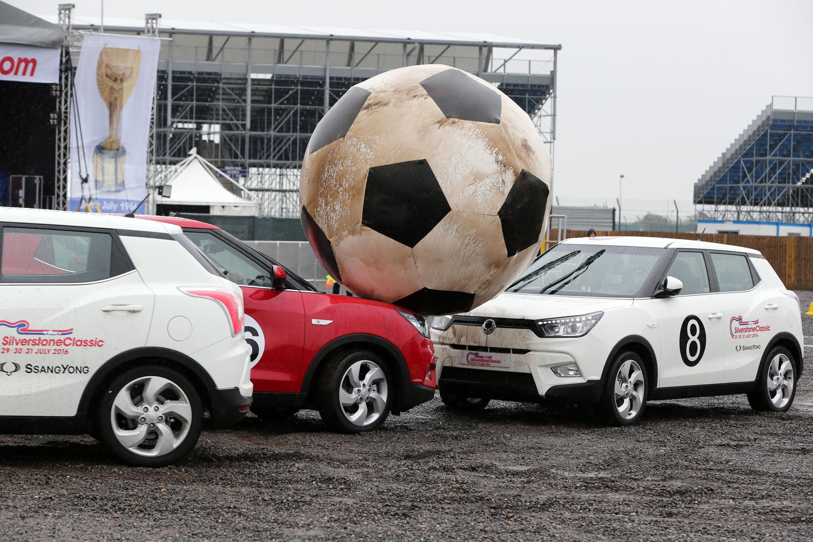 Silverstone commemorated he 50th anniversary of England's World Cup win with a game of car football