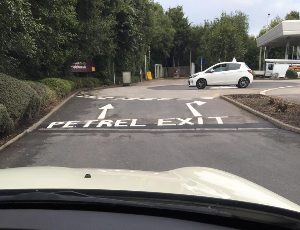 A sign at the Sainsbury's branch in Edenthorpe, Doncaster, where misspelt road markings point drivers towards a small species of sea bird.