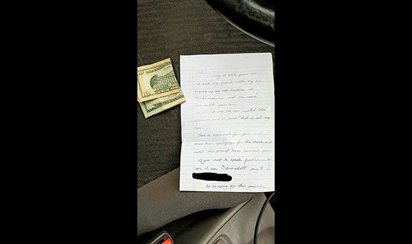 A Subaru owner in America had her car stolen by an accidental thief – only for it to be returned with an apology note and petrol money.
