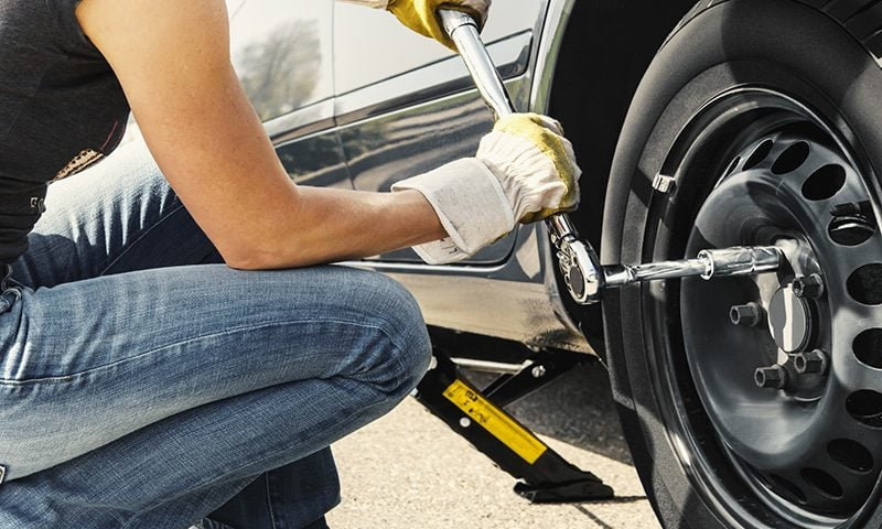 Using a jack, locking wheel nut, wrench and a spare, you can change a tyre in minutes