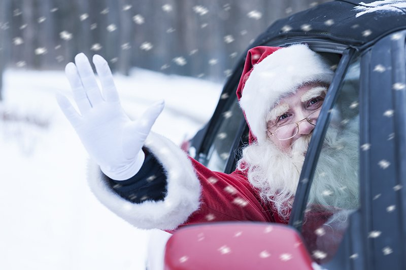 How long would it take Father Christmas to do his Christmas Eve deliveries by car?
