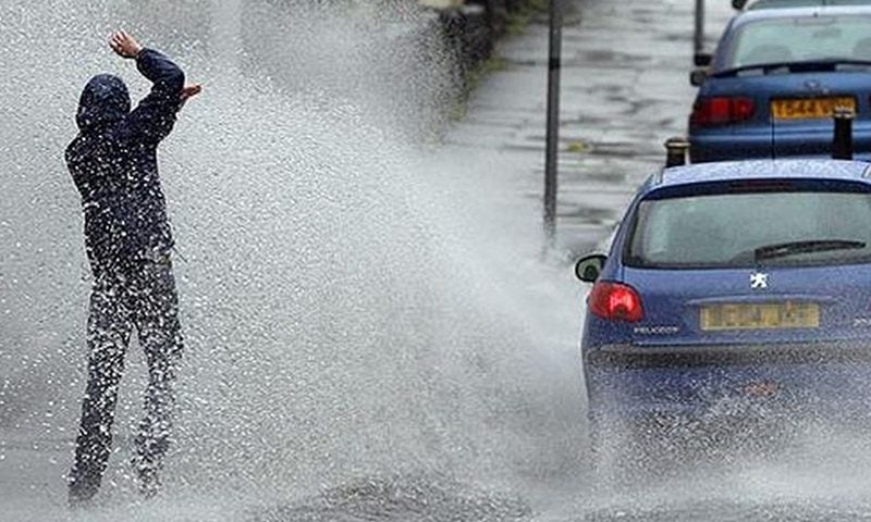 Did you know it's illegal to splash a pedestrian with your car?
