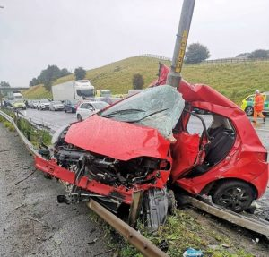 driver lucky to be alive following horror crash after complications from driving in wet weather arose