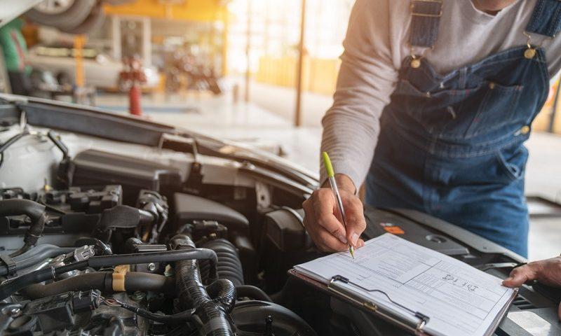 A mechanic works in a garage