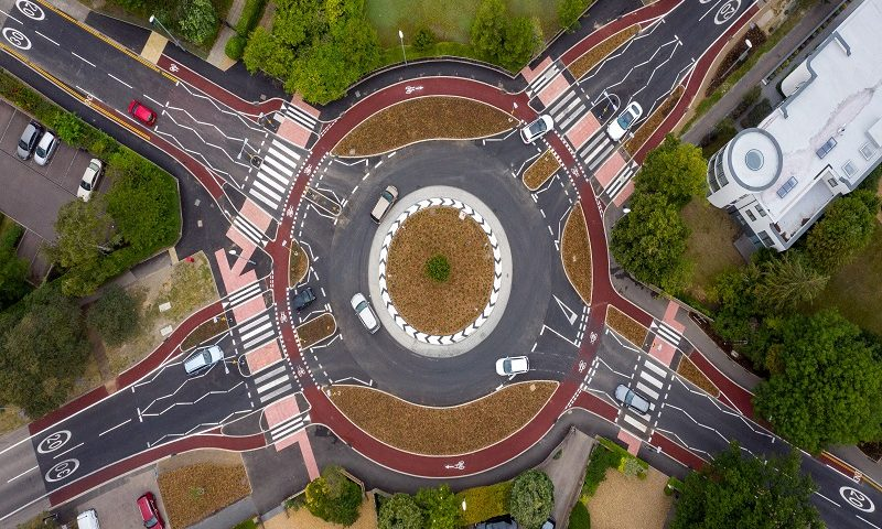 UK's first Dutch-style roundabout in Cambridge.