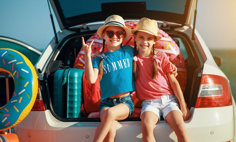 Children on a summer road trip