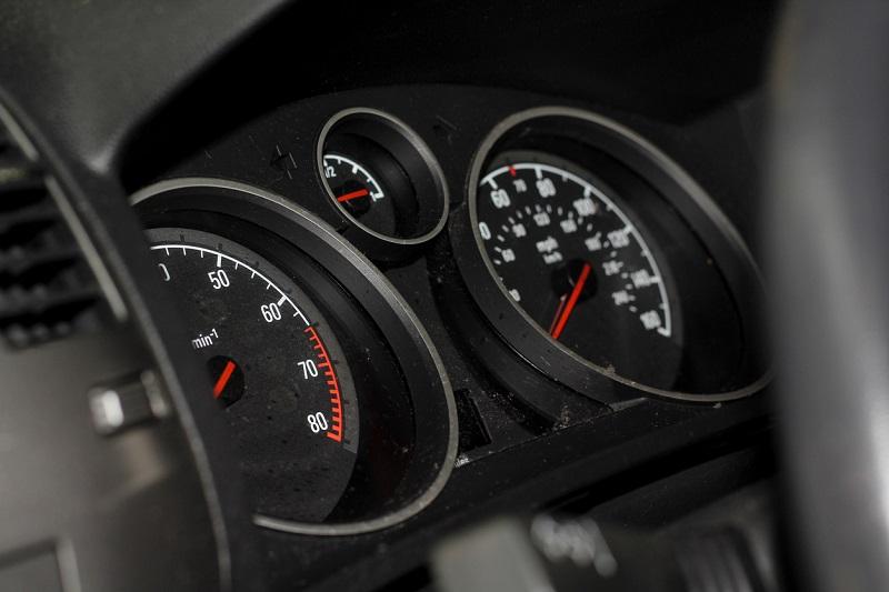 A car speedometer.