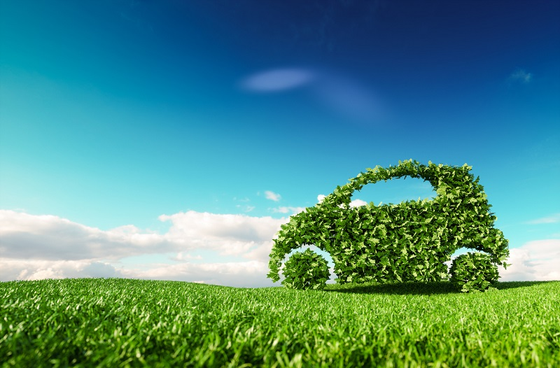 Green car icon on grass