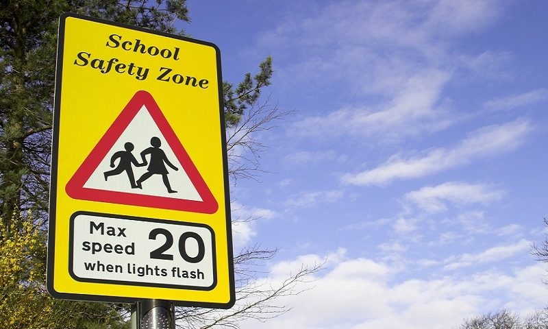 School safety zone road sign