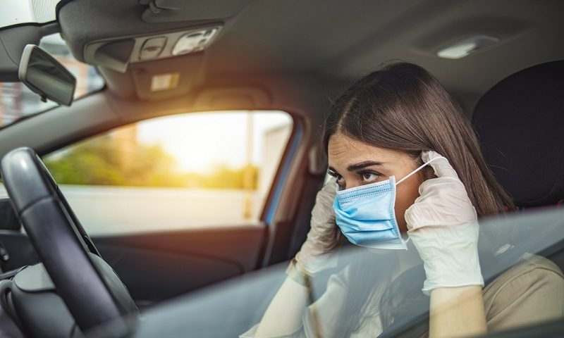 Driver with face mask