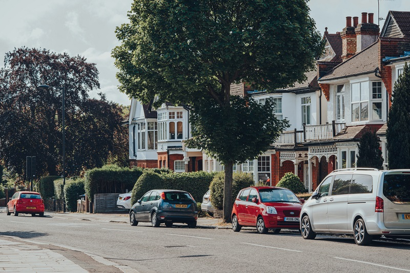 Cars parked on London street