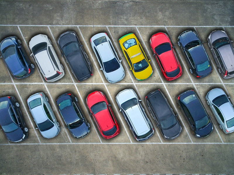 Aerial view cars parked