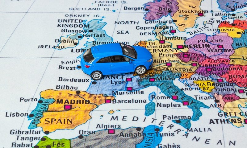 Europe map and car