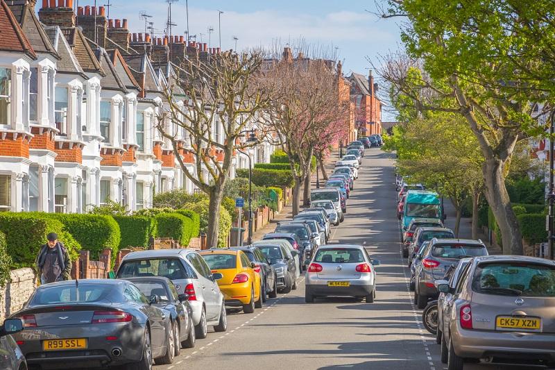 A car driving through a London street