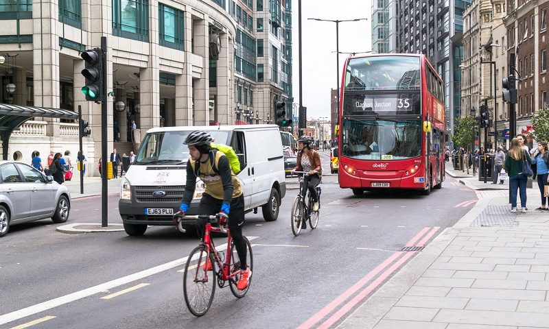 Cycling on a bicycle lane in the city
