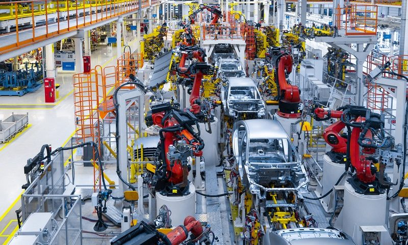 Assembly line production of new cars