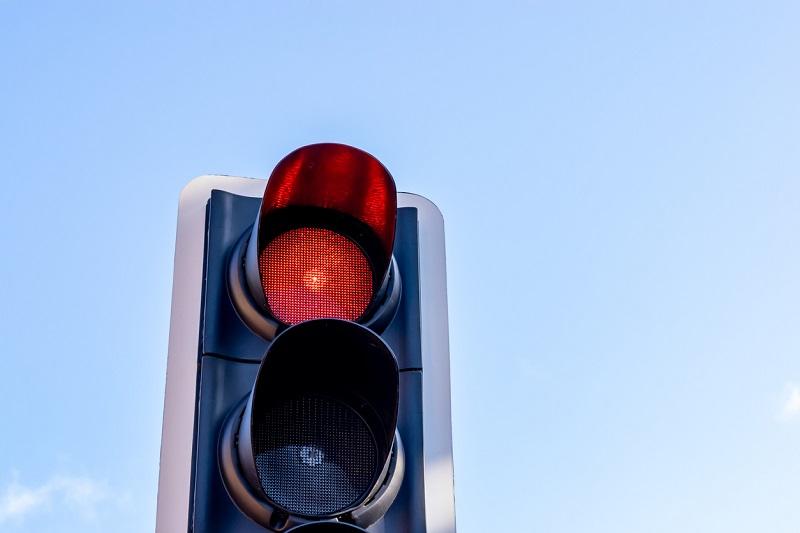 Red traffic light in UK