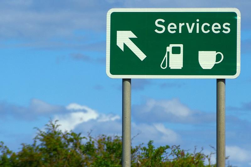 Motorway service sign