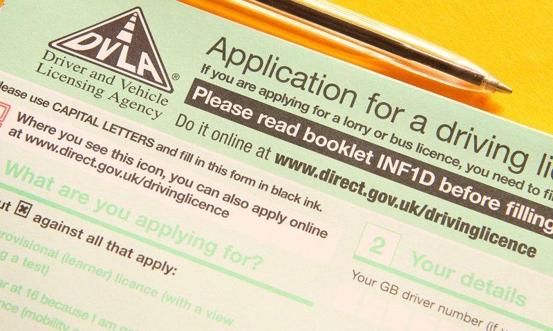 A DVLA driving licence application form
