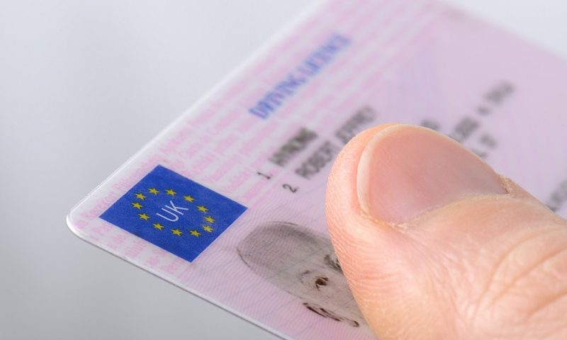 Close up of a UK driving licence